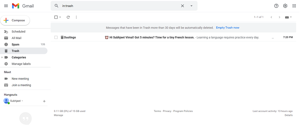 Recovery mails from Cloud