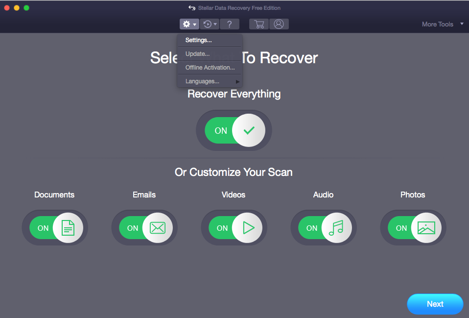 Stellar Mac Data Recovery Settings