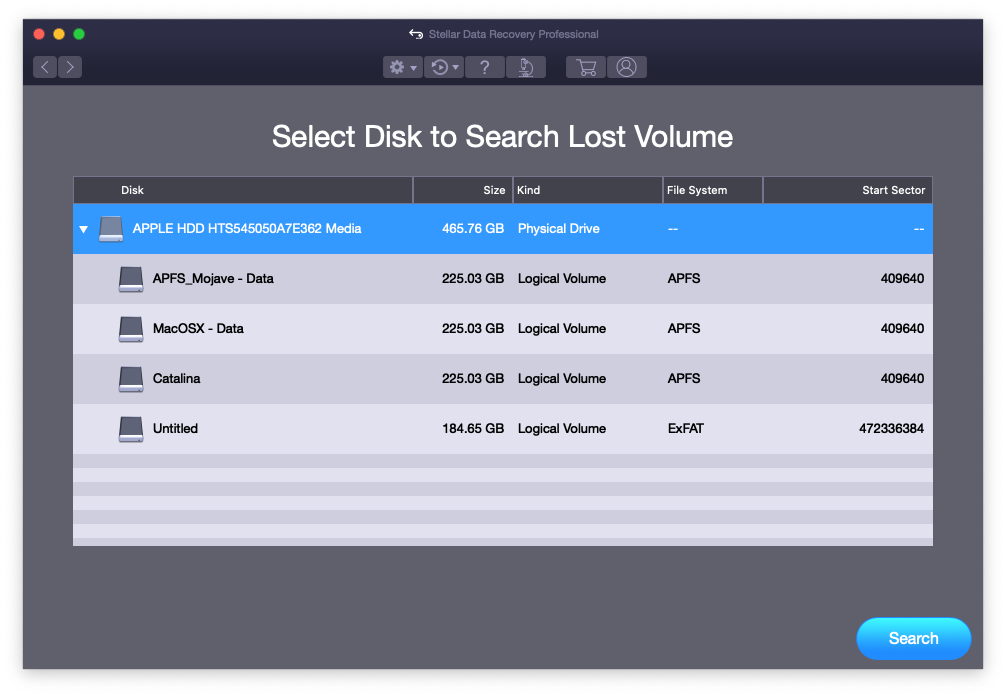 Select Lost Disk Volume