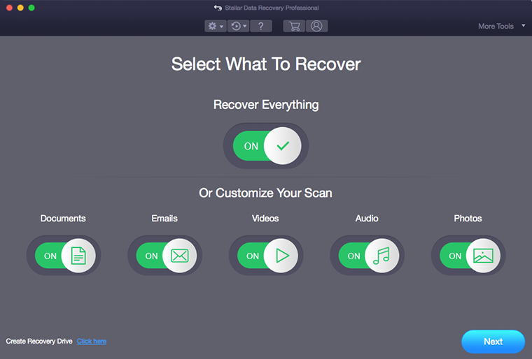 Launch the Software & Select file types for data recovery
